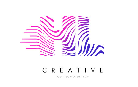 HL H L Zebra Letter Logo Design with Black and White Stripes Vector
