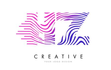 HZ H Z Zebra Letter Logo Design with Black and White Stripes Vector