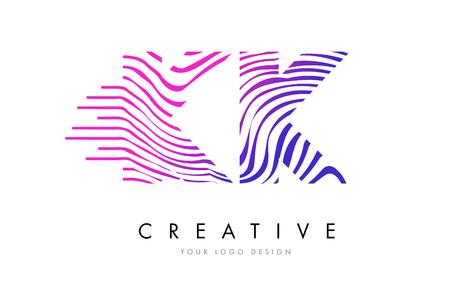 KK K K Zebra Letter Logo Design with Black and White Stripes Vector Logó