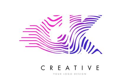 GK G K Zebra Letter Logo Design with Black and White Stripes Vector