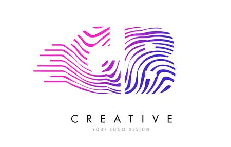 logo vector: GB G B Zebra Letter Logo Design with Black and White Stripes Vector Illustration