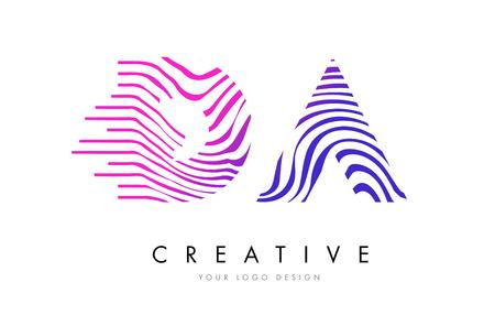 logo vector: DA D A Zebra Letter Logo Design with Black and White Stripes Vector Illustration