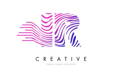 IR I R Zebra Letter Logo Design with Black and White Stripes Vector Illusztráció