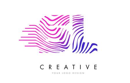 SL S L Zebra Letter Logo Design with Black and White Stripes Vector