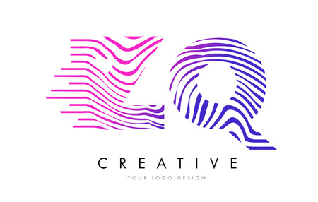 ZQ Z Q Zebra Letter Logo Design with Black and White Stripes Vector