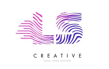 LS L S Zebra Letter Logo Design with Black and White Stripes Vector