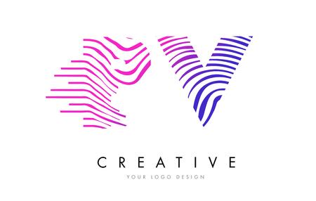 PV P V Zebra Letter Logo Design with Black and White Stripes Vector