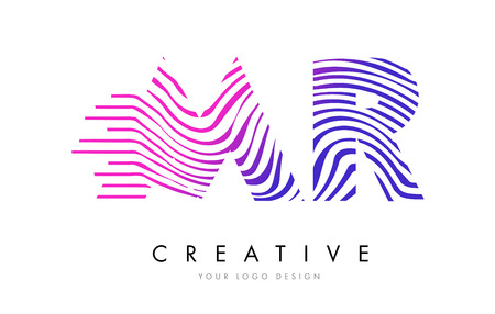 MR M R Zebra Letter Logo Design with Black and White Stripes Vector Ilustração