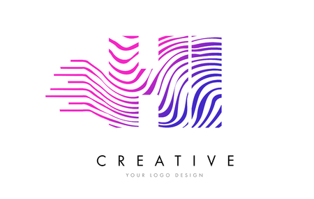 HI H I Zebra Letter Logo Design with Black and White Stripes Vector Stok Fotoğraf - 76754916
