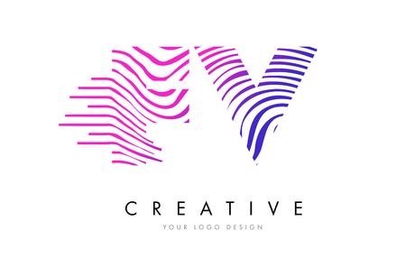 fv: FV F V Zebra Letter Logo Design with Black and White Stripes Vector Illustration