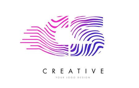 cs: CS C S Zebra Letter Logo Design with Black and White Stripes Vector Illustration