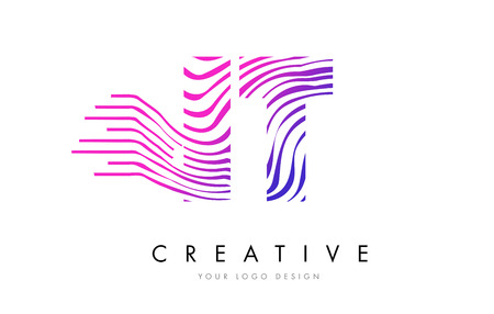 IT I T Zebra Letter Logo Design with Black and White Stripes Vector Çizim