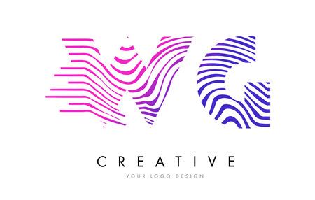 WG W G Zebra Letter Logo Design with Black and White Stripes Vector