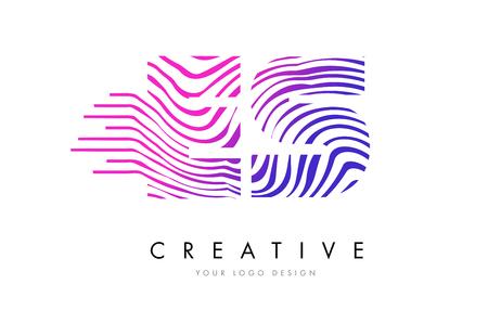 ES E S Zebra Letter Logo Design with Black and White Stripes Vector