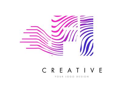 FI F I Zebra Letter Logo Design with Black and White Stripes Vector