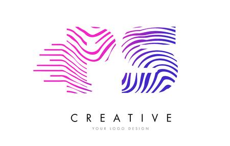 PS P S Zebra Letter Logo Design with Black and White Stripes Vector Illustration