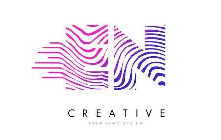 EN E N Zebra Letter Logo Design with Black and White Stripes Vector