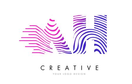 AH A H Zebra Letter Logo Design with Black and White Stripes Vector