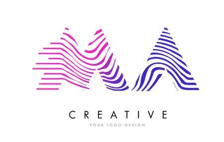MA M A Zebra Letter Logo Design with Black and White Stripes Vector