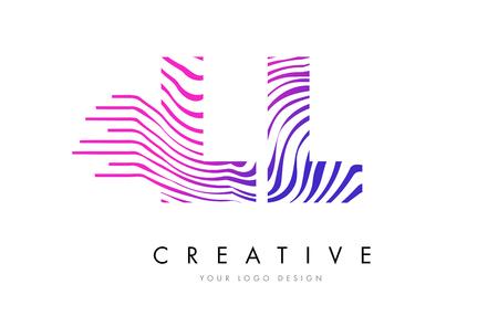 LL Zebra Letter Logo Design with Black and White Stripes Vector