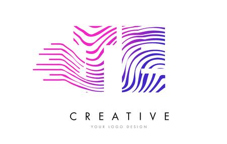 TE T E Zebra Letter Logo Design with Black and White Stripes Vector Illustration