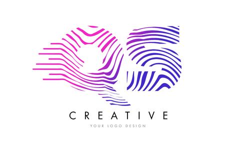 qs: QS Zebra Letter Logo Design with Black and White Stripes Vector