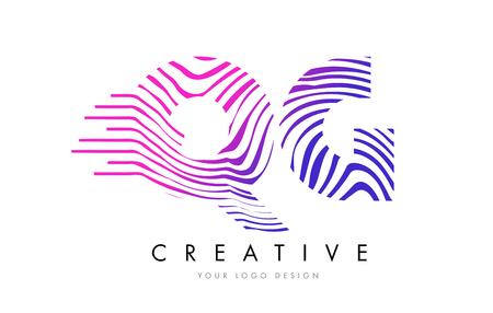 QG Zebra Letter Logo Design with Black and White Stripes Vector