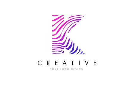 K Zebra Letter Logo Design with Black and White Stripes Vector Illustration