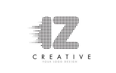 IZ I Z Letter Logo Design with Black Dots and Bubble Trails.