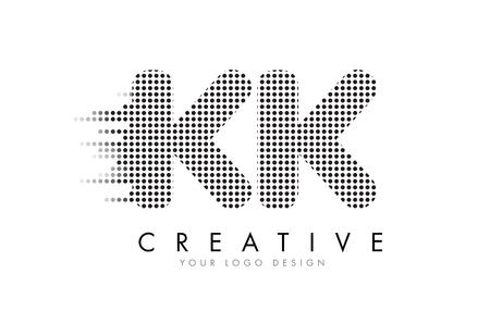KK K K Letter Logo Design with Black Dots and Bubble Trails. Logó