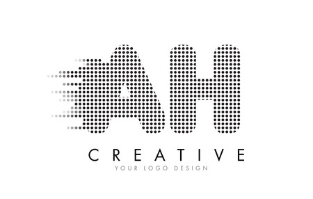 AH A H Letter Logo Design with Black Dots and Bubble Trails. Illustration