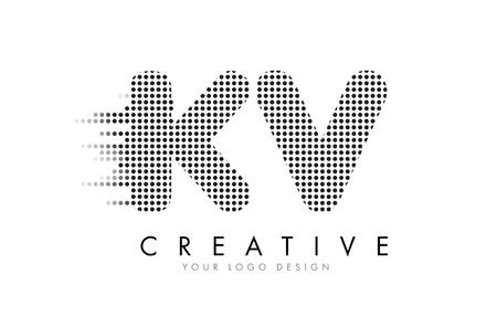 KV K V Letter Logo Design with Black Dots and Bubble Trails.