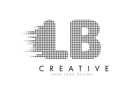 LB L B 文字ロゴ デザインの黒いドットとバブルの軌跡。
