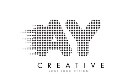 AY A Y Letter Logo Design with Black Dots and Bubble Trails. Illustration