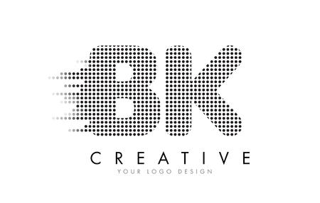 BK B K Letter Logo Design with Black Dots and Bubble Trails. Illustration