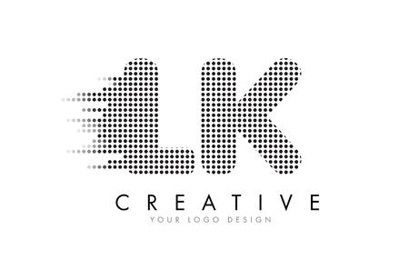 LK LK Projekt logo litery z czarnymi punktami i torami bąbelkowymi.