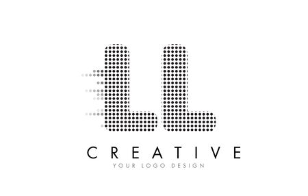 LL L Letter Logo Design with Black Dots and Bubble Trails.