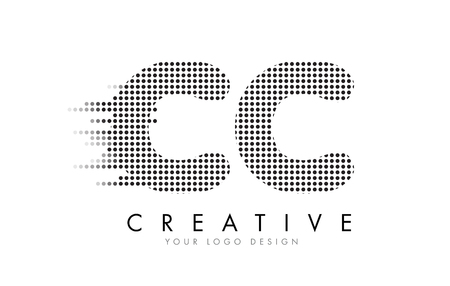 CC C C 文字ロゴ デザインの黒いドットとバブルの軌跡。  イラスト・ベクター素材
