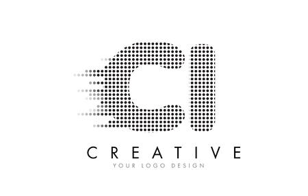 CI C I Letter Logo Design with Black Dots and Bubble Trails. Illustration