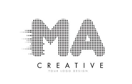 MA M A Letter Logo Design with Black Dots and Bubble Trails. Ilustração