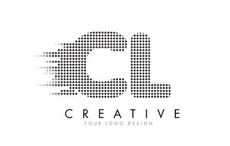 CL C L Letter Logo Design with Black Dots and Bubble Trails.