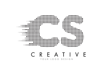 cs: CS C S Letter Logo Design with Black Dots and Bubble Trails. Illustration