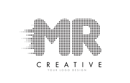 MR M R Letter Logo Design with Black Dots and Bubble Trails.