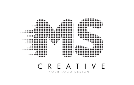 MS M S Letter Logo Design with Black Dots and Bubble Trails.