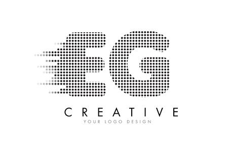 EG E G Letter Logo Design with Black Dots and Bubble Trails.