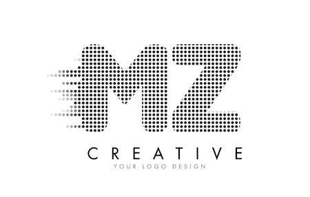 MZ M Z Letter Logo Design with Black Dots and Bubble Trails. Logó