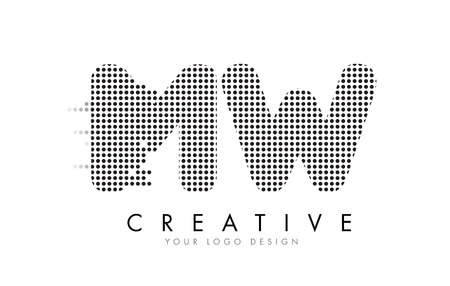 MW M W Letter Logo Design with Black Dots and Bubble Trails. Illustration