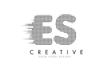 ES E S Letter Logo Design with Black Dots and Bubble Trails.