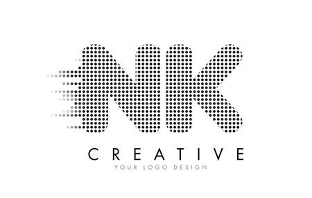 NK N K Letter Logo Design with Black Dots and Bubble Trails.