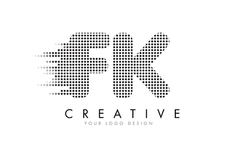 FK F K Letter Logo Design with Black Dots and Bubble Trails.